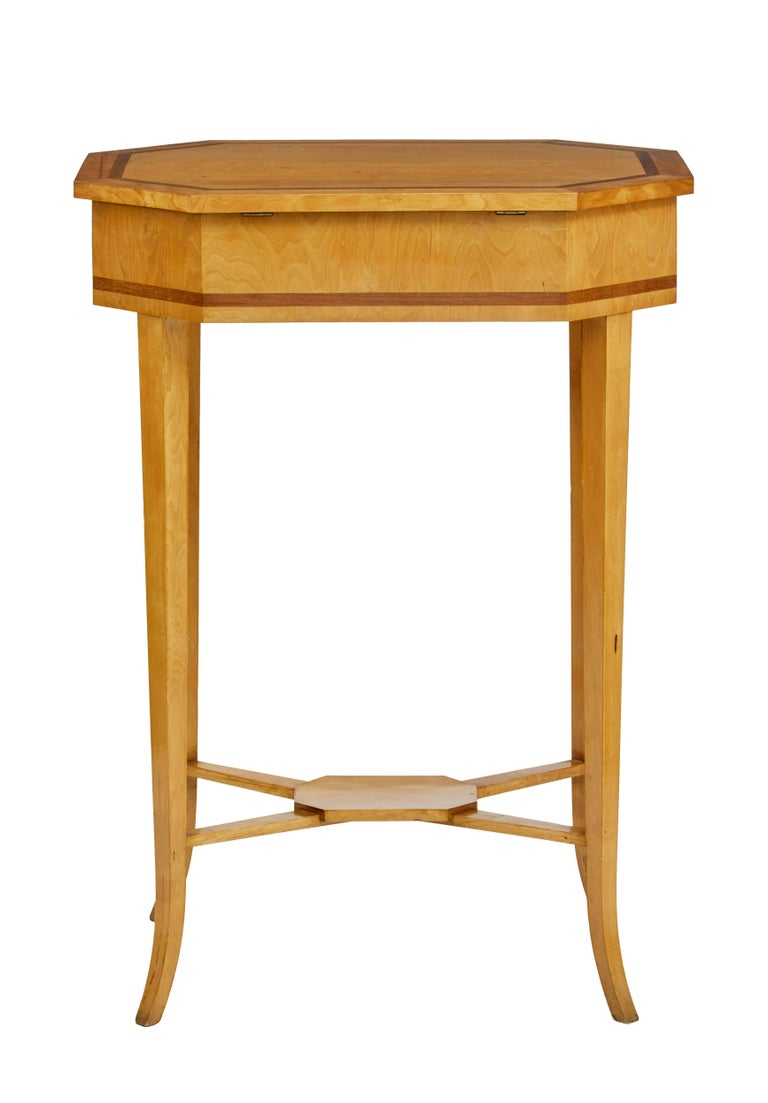 Good quality birch work table, circa 1900.