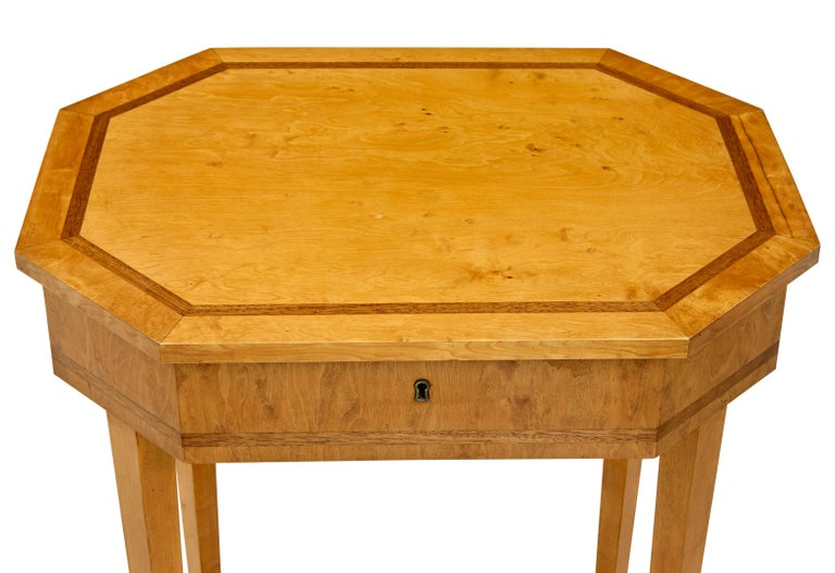 Victorian Early 20th Century Octagonal Birch Work Table For Sale