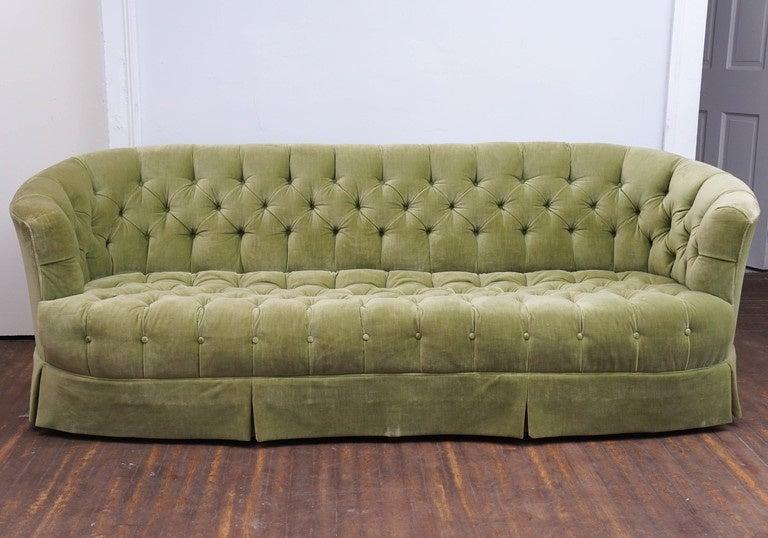 hollywood regency chesterfield Mint Green Velvet Tufted Sofa 2 - Hollywood Regency Chesterfield Mint Green Velvet Tufted Sofa At
