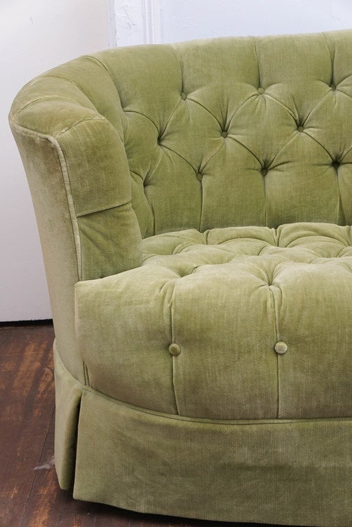 Mid Century Modern Hollywood Regency Chesterfield Mint Green Velvet Tufted  Sofa For Sale
