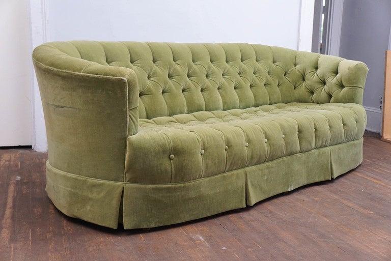 Hollywood Regency Chesterfield Mint Green Velvet Tufted