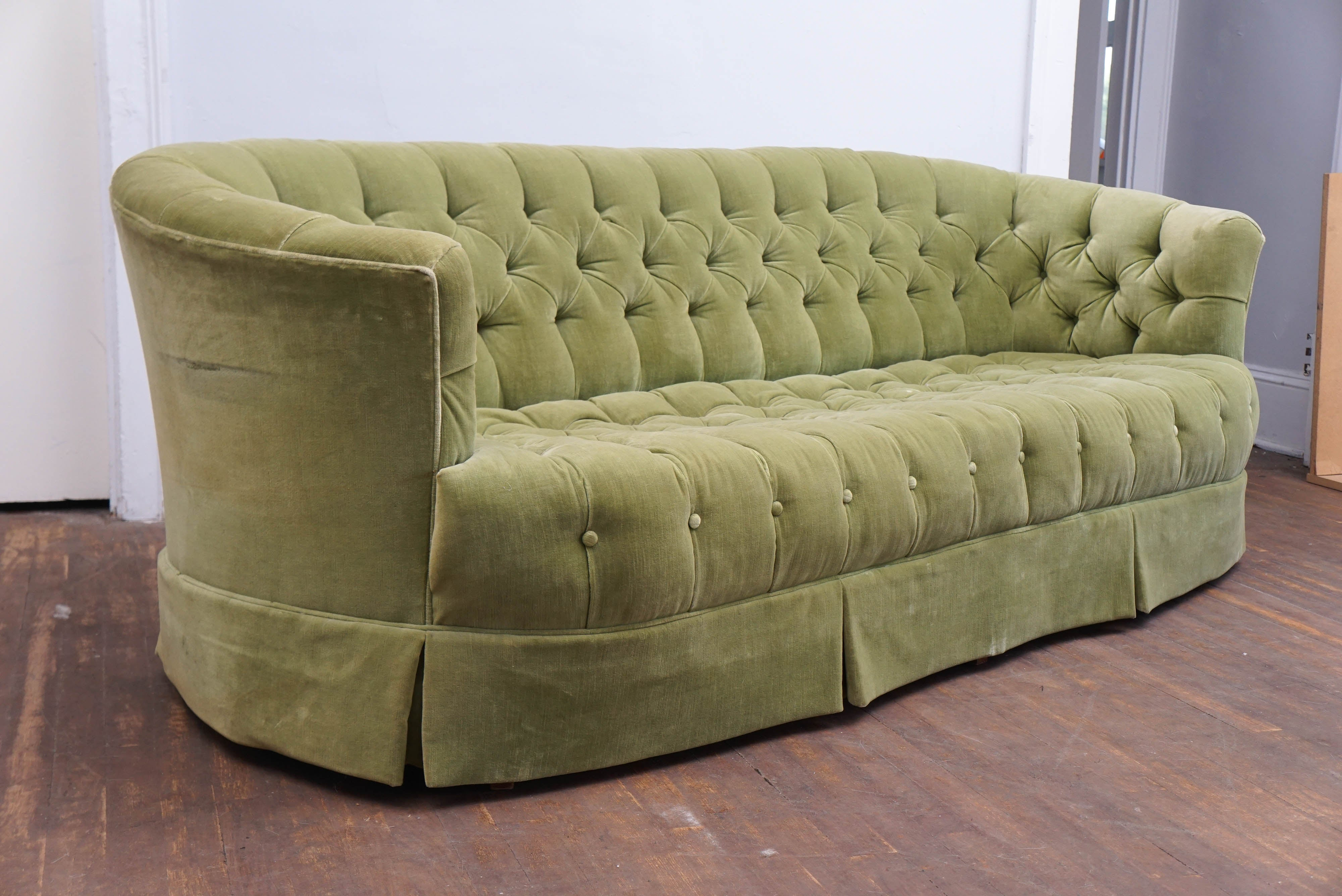 sea settee french wooden white tufted with foam sadie green frame pin distressed loveseat velvet