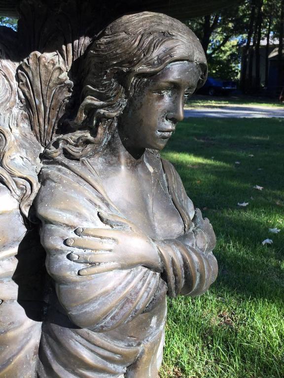 Neoclassical Revival Bronze Garden Statue or Bird Bath For Sale