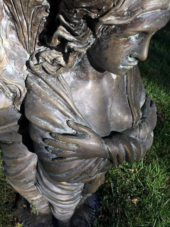 Bronze Garden Statue or Bird Bath In Excellent Condition For Sale In Canaan, CT