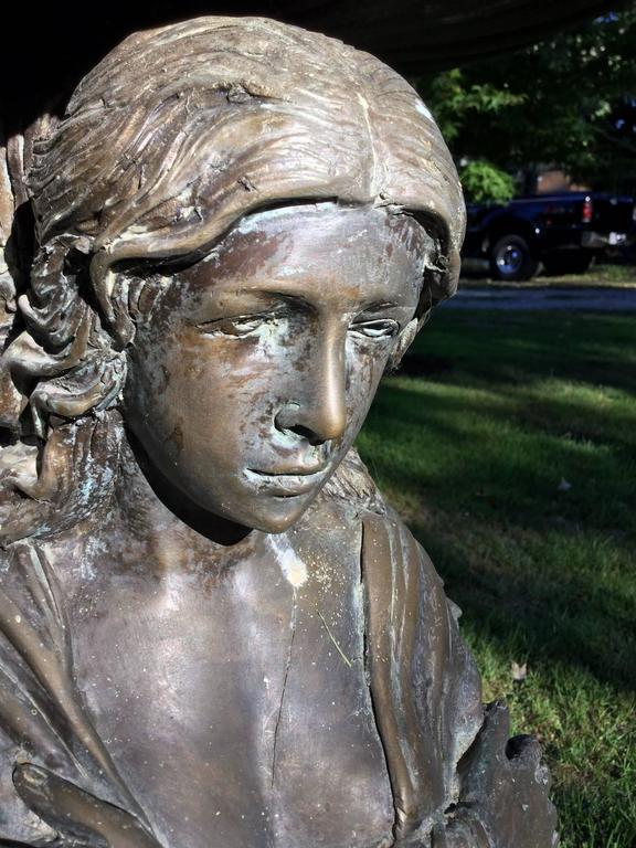 Bronze Garden Statue or Bird Bath For Sale 2