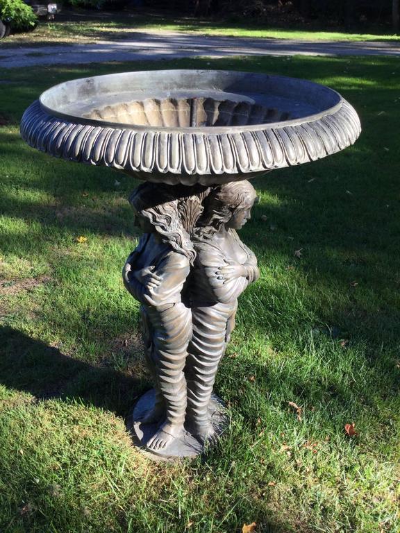 Bronze Garden Statue or Bird Bath For Sale 3