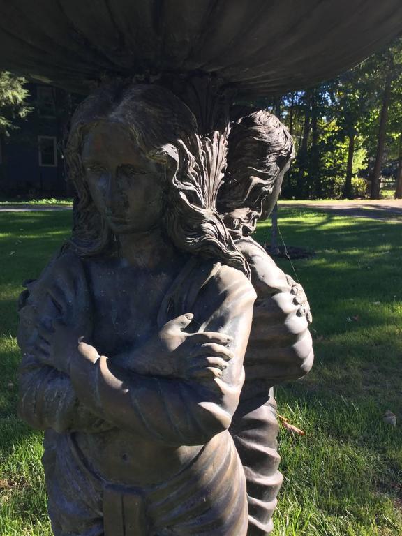 Bronze Garden Statue or Bird Bath For Sale 4