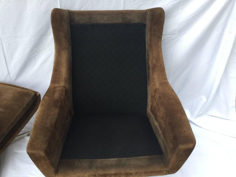 Danish Brown Suede Lounge Chair And Ottoman For Sale At