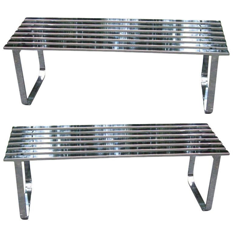 1970s Milo Baughman Chrome Slat Bench