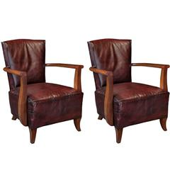 Oxblood Leather Armchairs