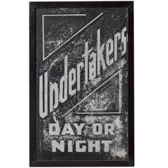 "Hand Painted ""Undertakers"" Sign"