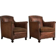 Pair of Leather / Velvet Lounge Chairs