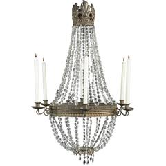 Crystal Candle Chandelier, Italy, circa 1870