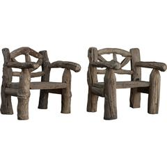 Massive Primitive Wooden Chairs