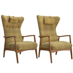 Wool Fabric and Wood Modern Armchairs, circa 1950