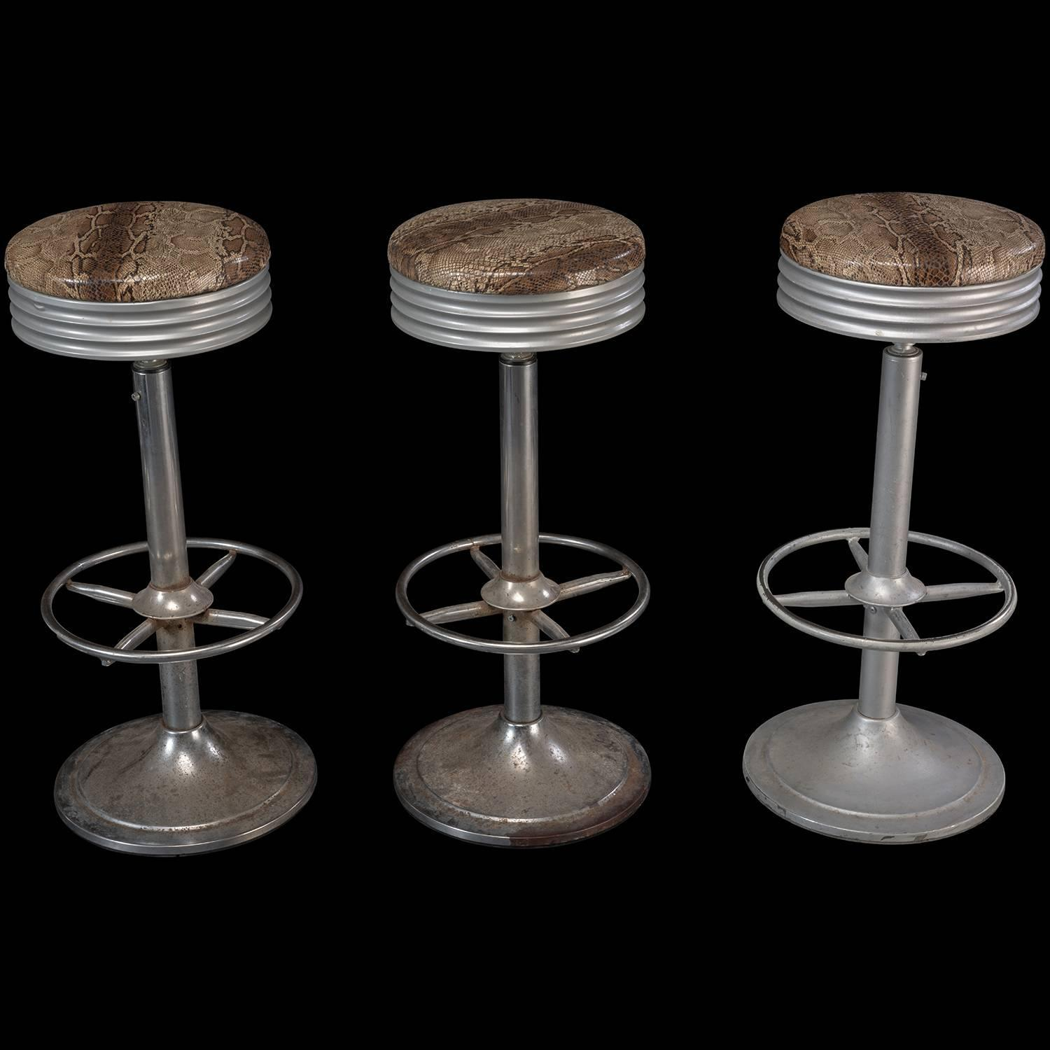 Faux Snakeskin Bar Stools Circa 1970 For Sale At 1stdibs