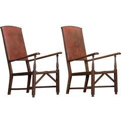 Pair of Oak and Leather Armchairs, circa 1900