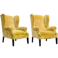 Pair of Yellow Velvet Wingback Armchairs, circa 1950