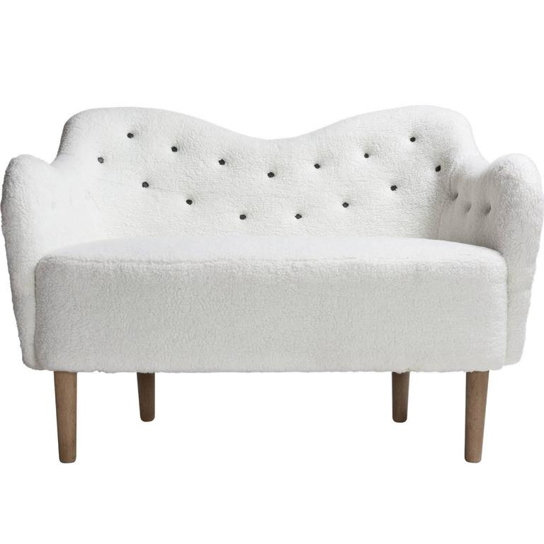 Faux Wool Danish Sofa, circa 1970 1
