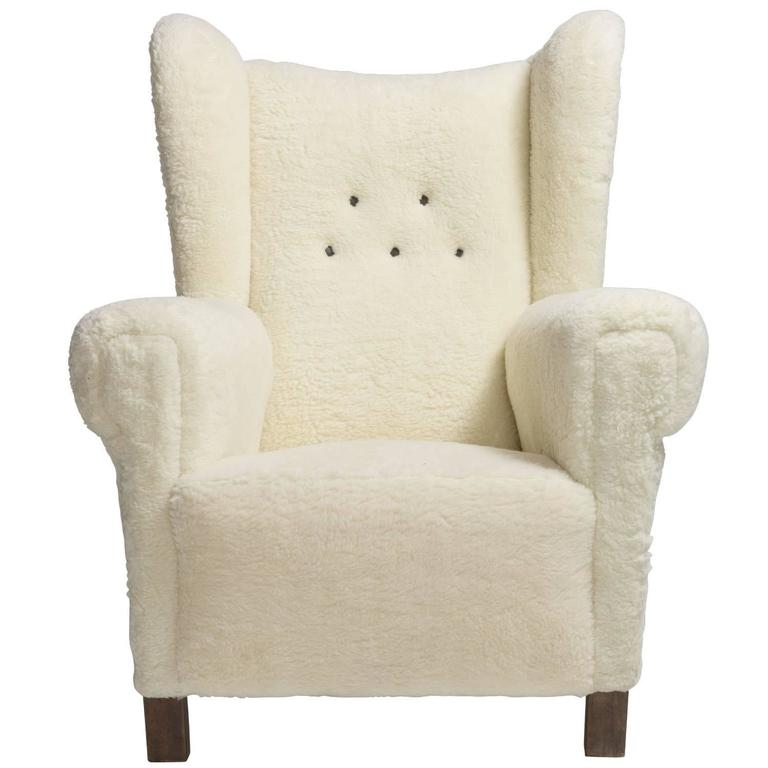 Faux Wool Danish Wingback Chair, circa 1970 1