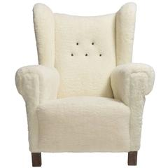 Faux Wool Danish Wingback Chair, circa 1970