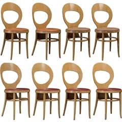 Baumann Bentwood and Vinyl Bistro Chairs, circa 1970