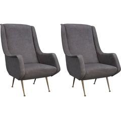 Grey Velvet and Brass Modern Armchairs, circa 1960