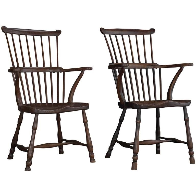 Pair Of Elm Comb Back Windsor Armchairs Circa 1780 For