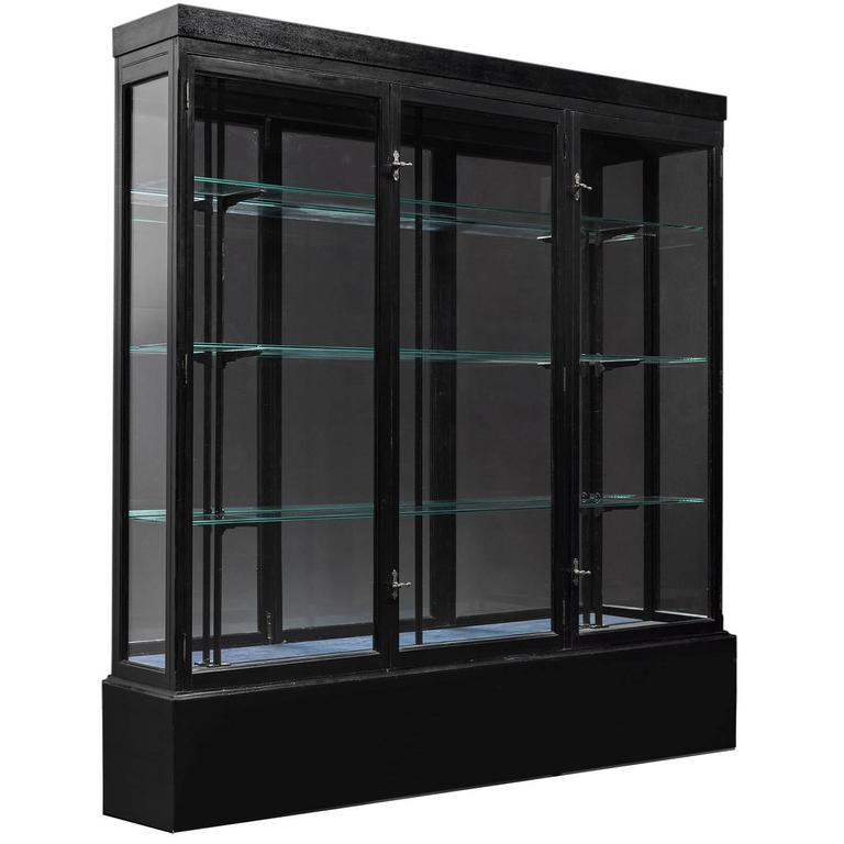 Delicieux Ebonized Wood And Glass Display Cabinet, Circa 1920 For Sale