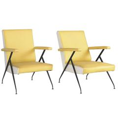 Pair of Vinyl and Metal Modern Lounge Chairs, circa 1960