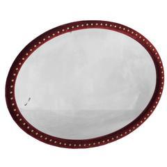 Red Velvet Oval Mirror