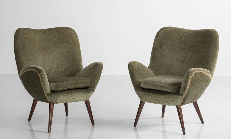Pair of Giuseppe Carmignani armchairs with original Mohair upholstery on splayed wood peg legs.