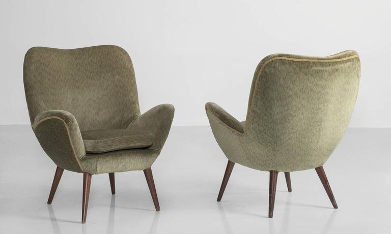 Mid-Century Modern Pair of Giuseppe Carmignani Armchairs, circa 1958 For Sale