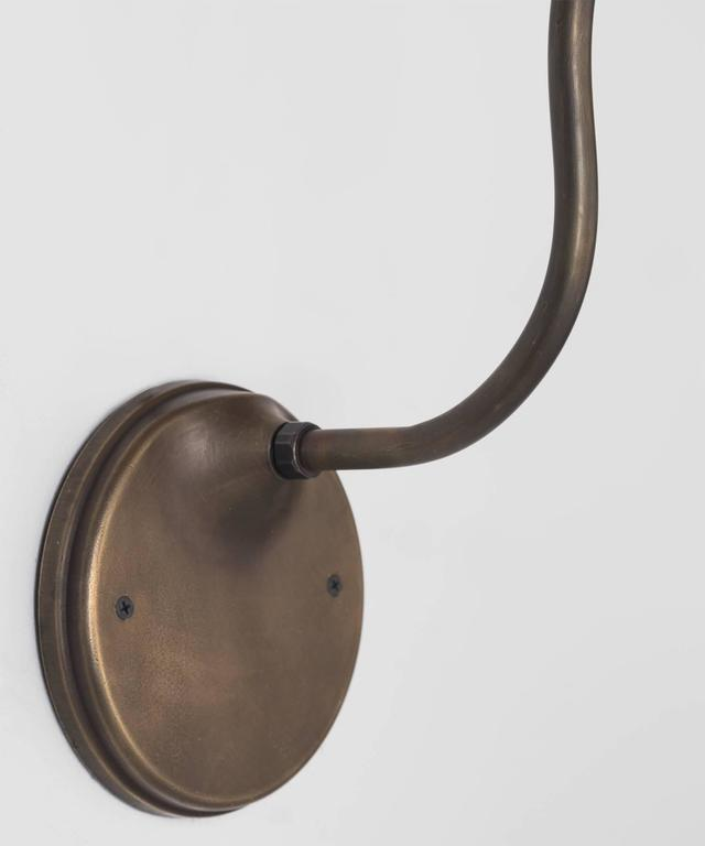 Italian Large Brass Gooseneck Sconce, Italy, 21st century For Sale