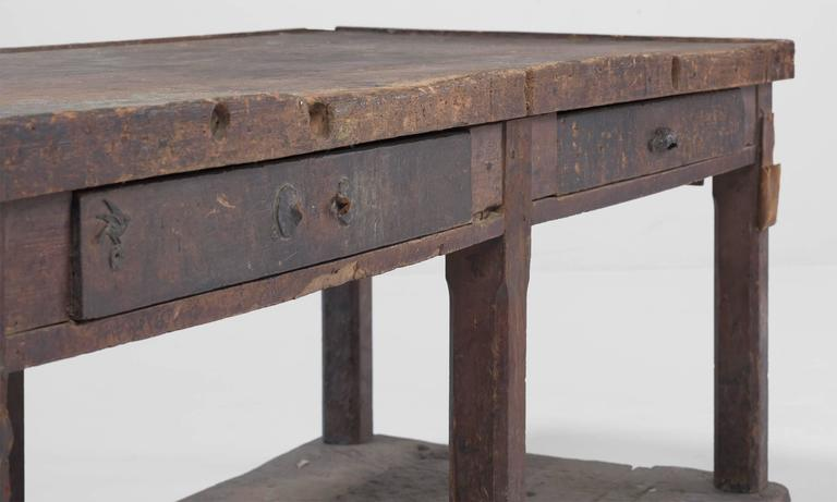 Late 19th Century Primitive Console on Hardwood Flooring For Sale