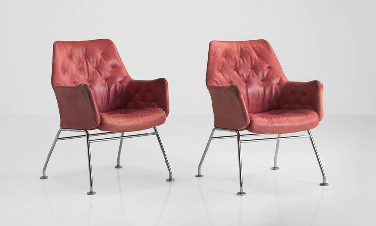 Red Leather Armchairs by Bruno Mathsson, circa 1960 2