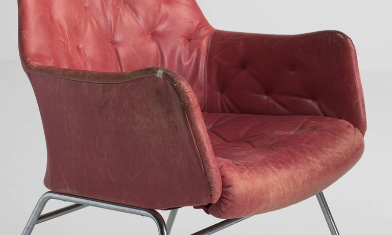 Red Leather Armchairs by Bruno Mathsson, circa 1960 5