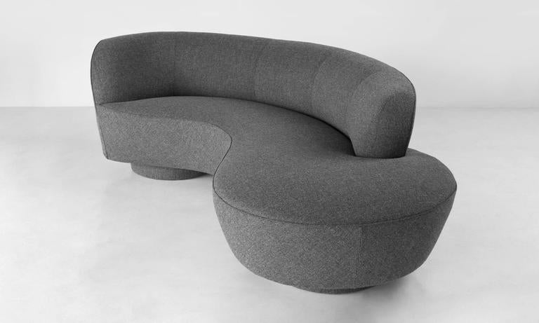 Iconic Serpentine sofa designed by Vladimir Kagan. Newly reupholstered in wool fabric by Maharam.