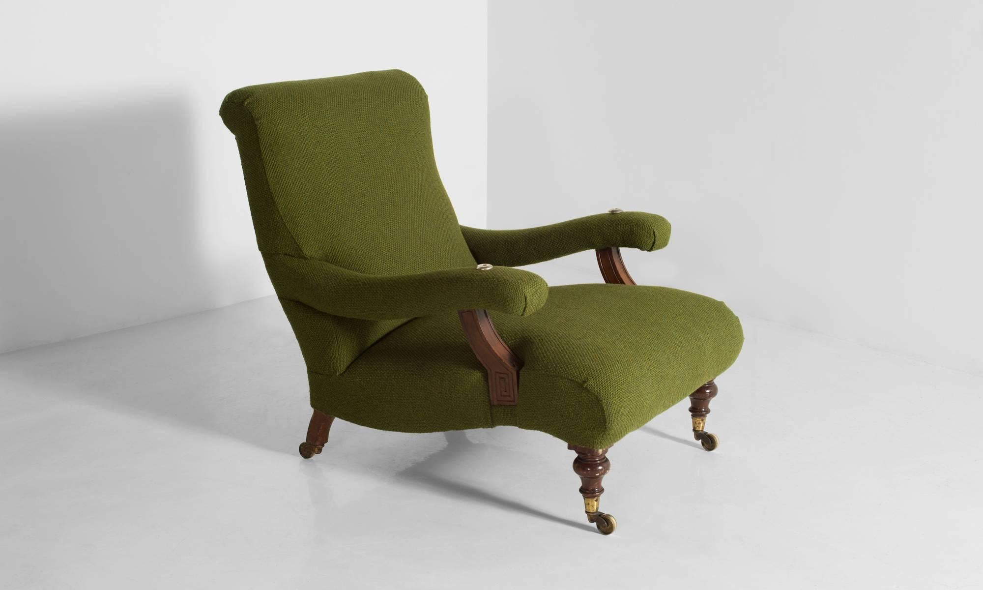 Gentlemanu0027s Library Chair, Newly Reupholstered In An Olive, Open Weave,  Wool Fabric By Nice Ideas