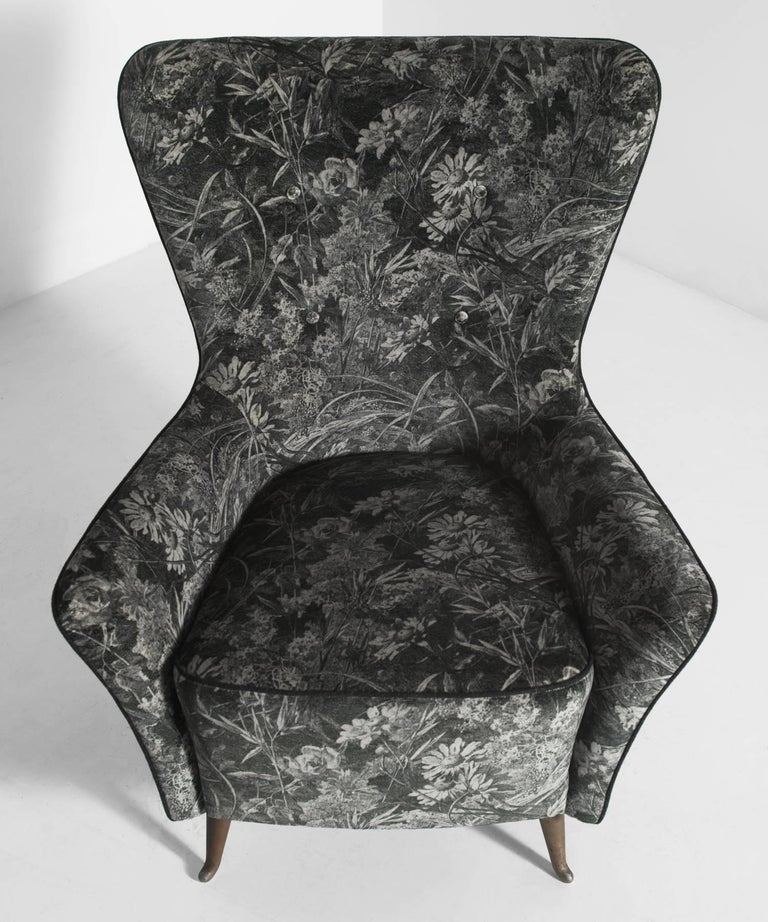 Italian Pair of Reupholstered I.S.A. Parlor Chairs in Liberty London Velvet For Sale