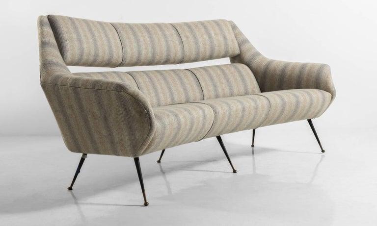 Italian Open Back Wool Sofa, Italy, circa 1960 For Sale