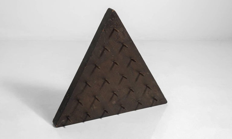 Odd Fellows Triangular Wooden Piece with Spikes, circa 1900 2