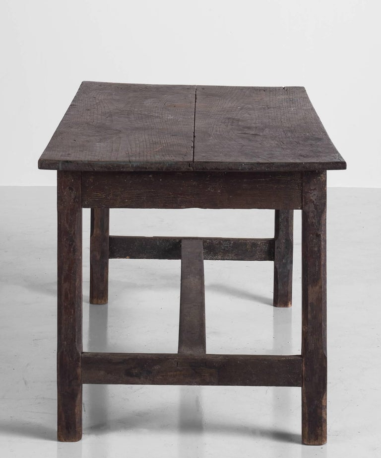 Painted Oak Work Table, England, circa 1780 In Good Condition For Sale In Culver City, CA