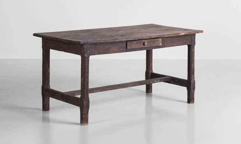 Painted Oak Work Table, England, circa 1780  Well worn oak table with original paint and single drawer. Wonderful patina. Two plank top.