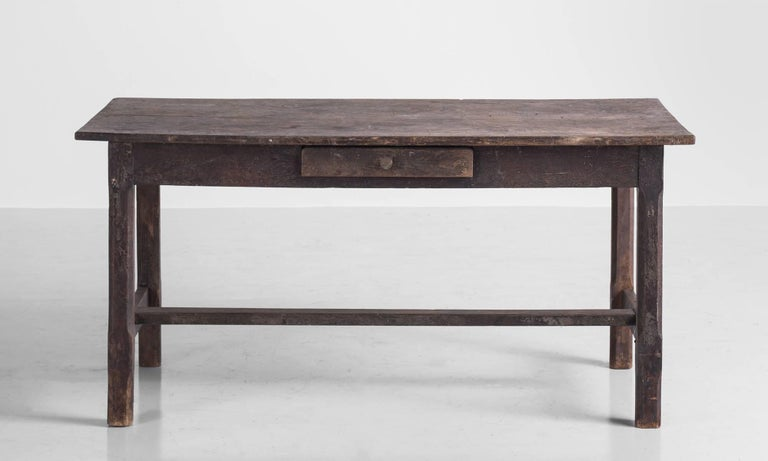English Painted Oak Work Table, England, circa 1780 For Sale