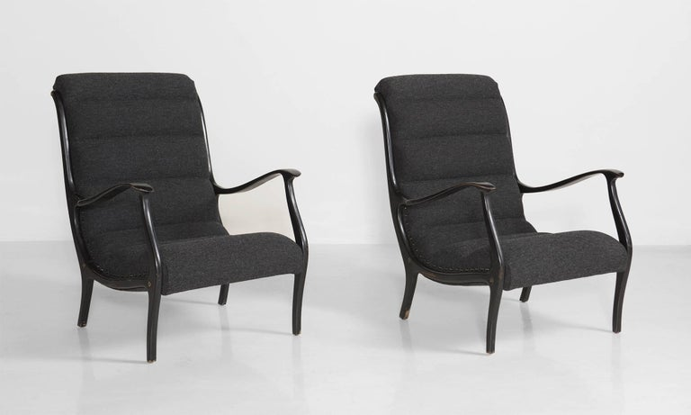 Bentwood armchairs, newly upholstered with Maharam fabric. Designed by Ezio Longhi for Elam.