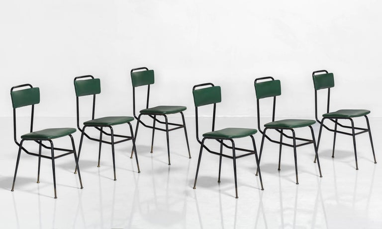 Set of Six Black Metal and Army Green Dining Chairs, circa 1950 2
