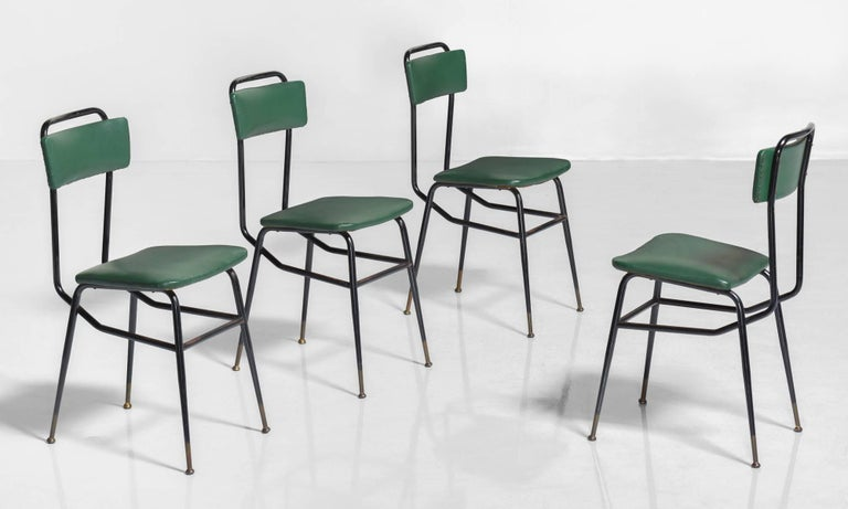 Set of Six Black Metal and Army Green Dining Chairs, circa 1950 3