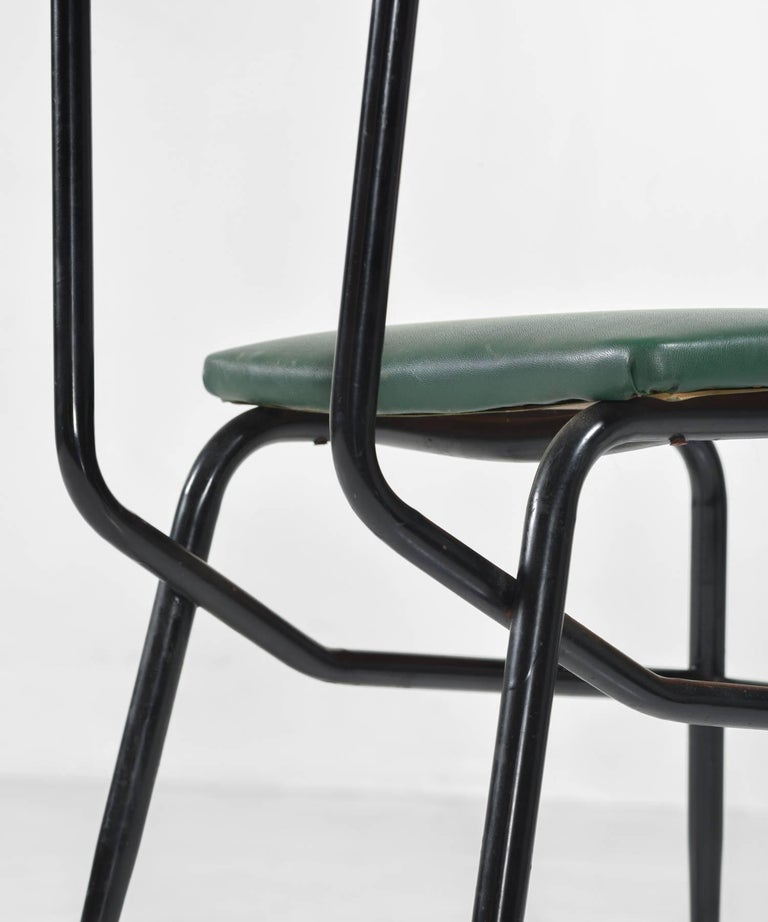 Set of Six Black Metal and Army Green Dining Chairs, circa 1950 5