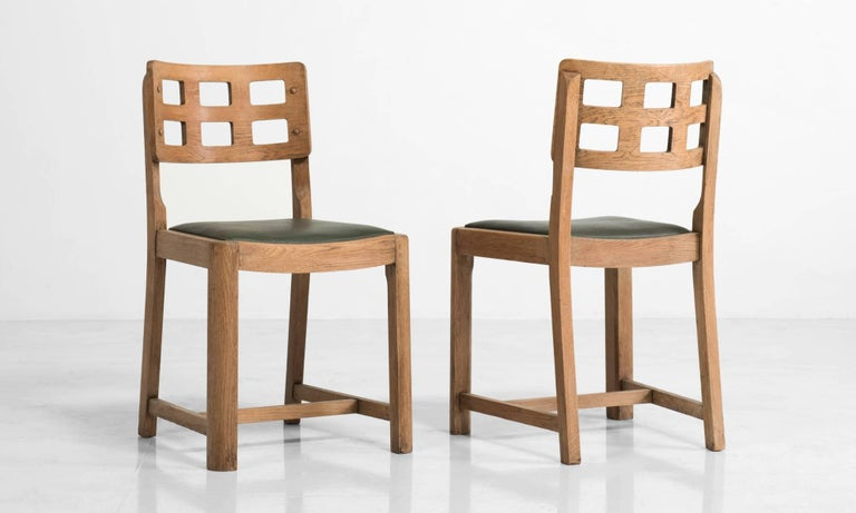 Set Of Four Oak Dining Chairs By Heals London Circa 1930